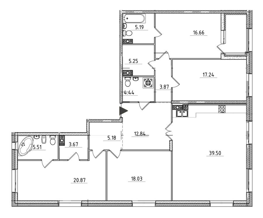 4-комнатная 160 м<sup>2</sup> на 4 этаже