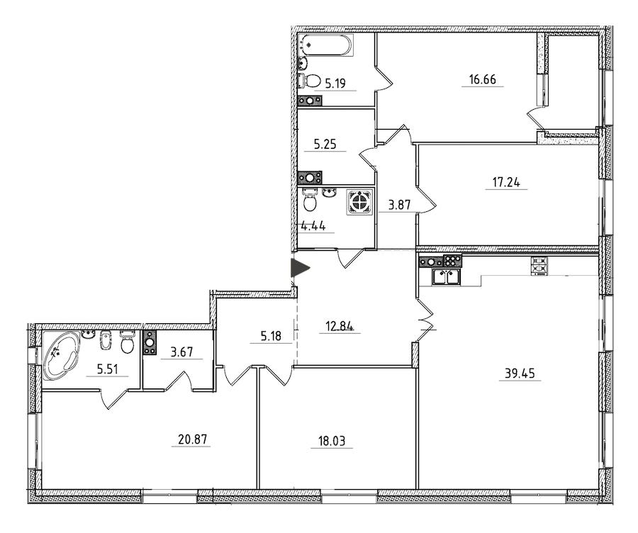 4-комнатная 160 м<sup>2</sup> на 6 этаже