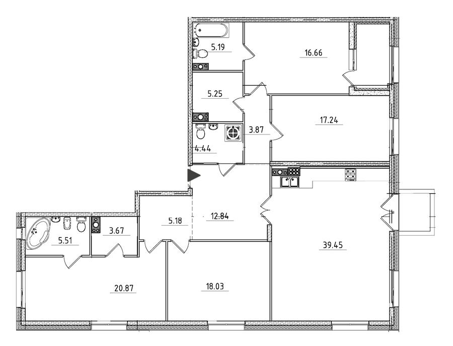 4-комнатная 161 м<sup>2</sup> на 7 этаже