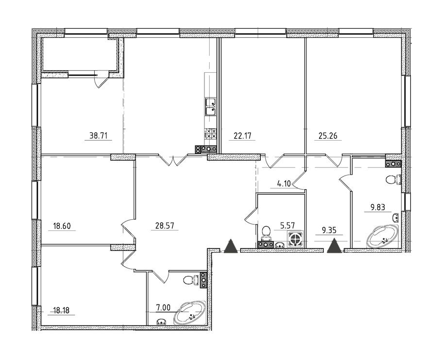 4-комнатная 190 м<sup>2</sup> на 3 этаже