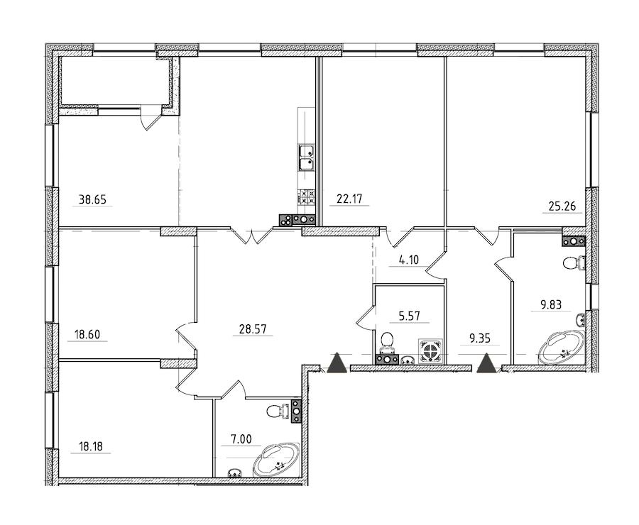 4-комнатная 190 м<sup>2</sup> на 4 этаже