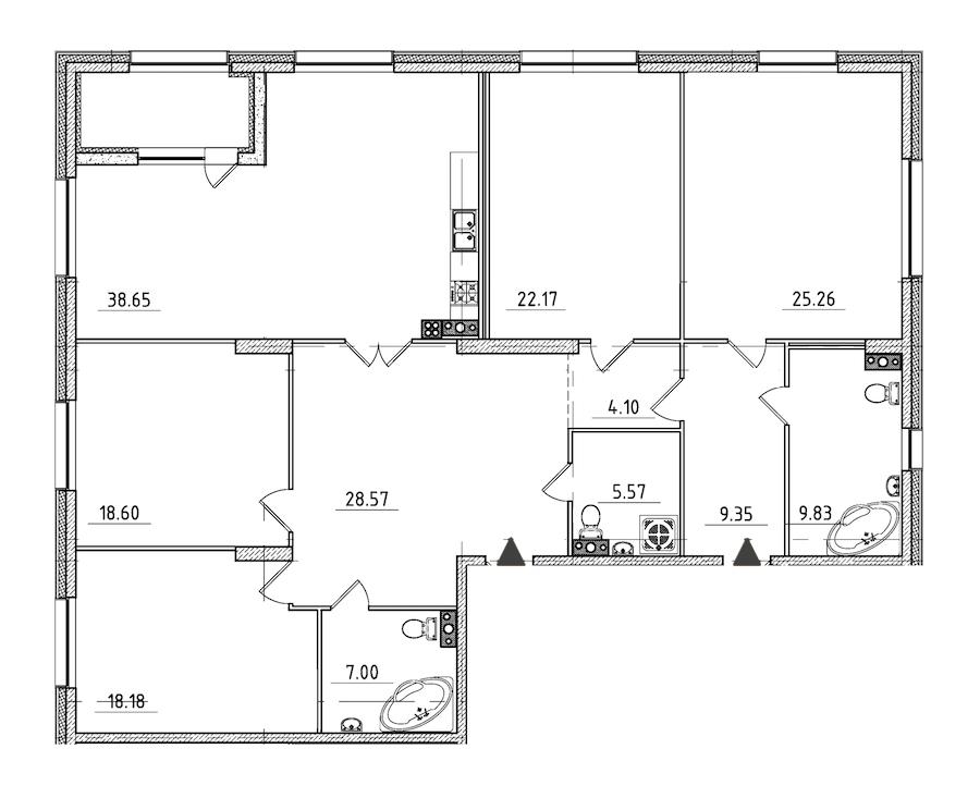 4-комнатная 190 м<sup>2</sup> на 5 этаже
