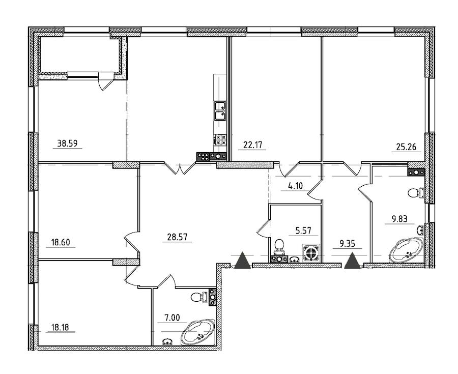 4-комнатная 190 м<sup>2</sup> на 6 этаже