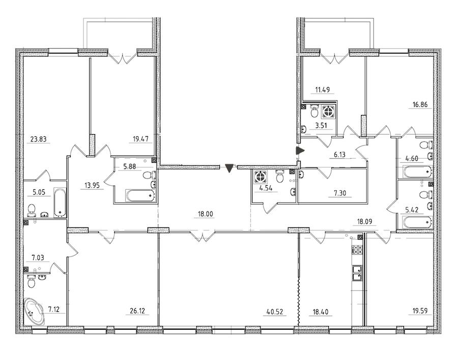 7-комнатная 286 м<sup>2</sup> на 2 этаже