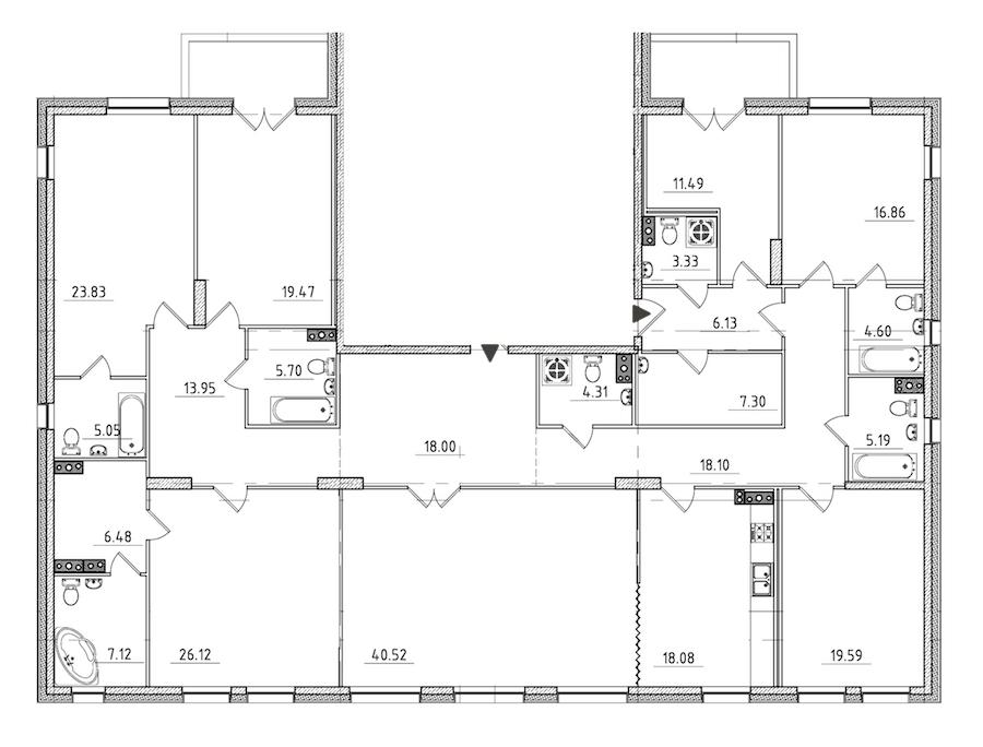 7-комнатная 284 м<sup>2</sup> на 3 этаже