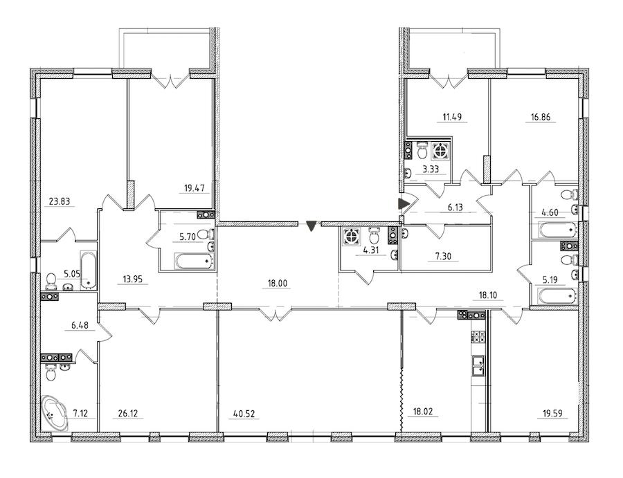 7-комнатная 284 м<sup>2</sup> на 4 этаже