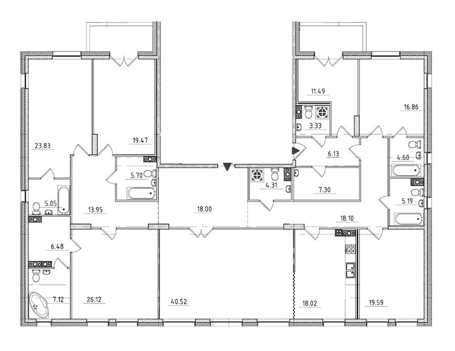 7-комнатная 284 м<sup>2</sup> на 5 этаже