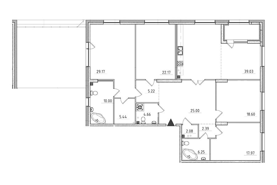 4-комнатная 217 м<sup>2</sup> на 2 этаже