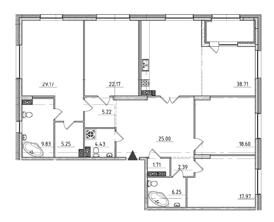 4-комнатная 189 м<sup>2</sup> на 3 этаже