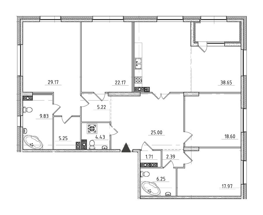 4-комнатная 189 м<sup>2</sup> на 4 этаже