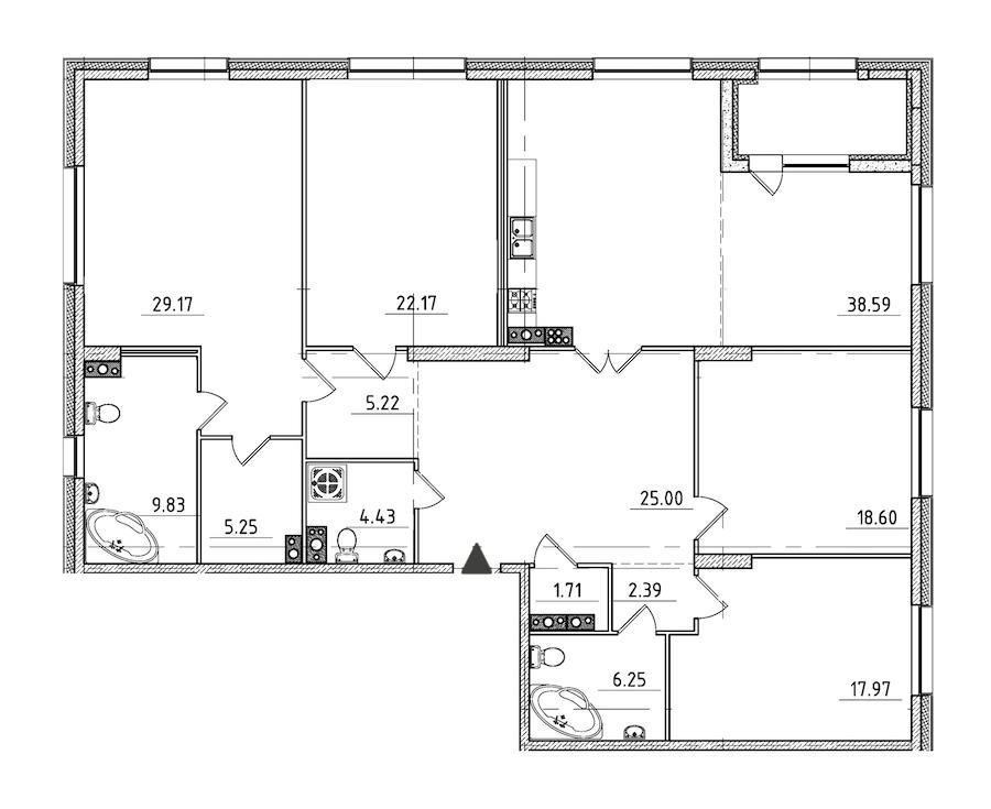 4-комнатная 189 м<sup>2</sup> на 6 этаже