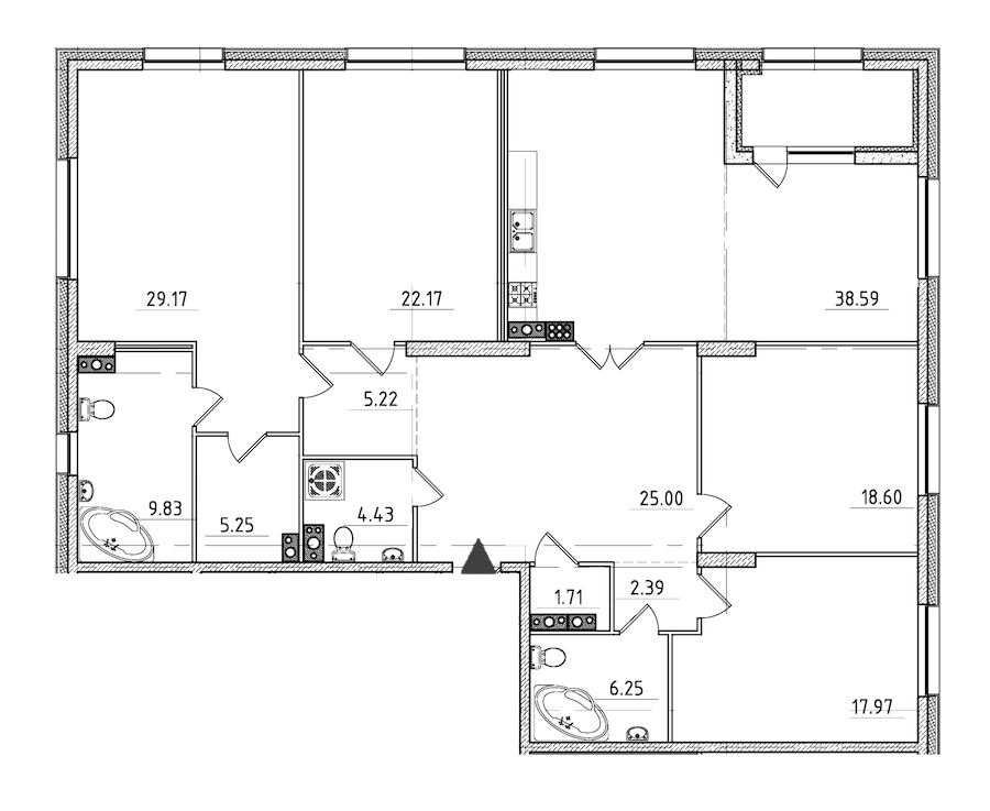 4-комнатная 189 м<sup>2</sup> на 7 этаже