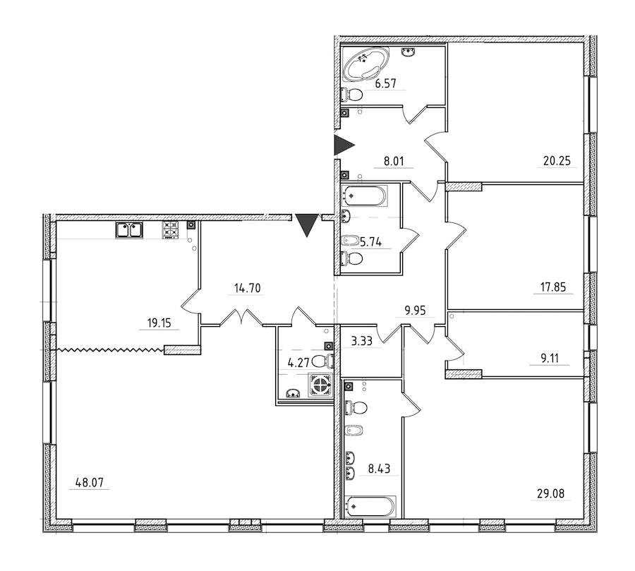 4-комнатная 204 м<sup>2</sup> на 2 этаже