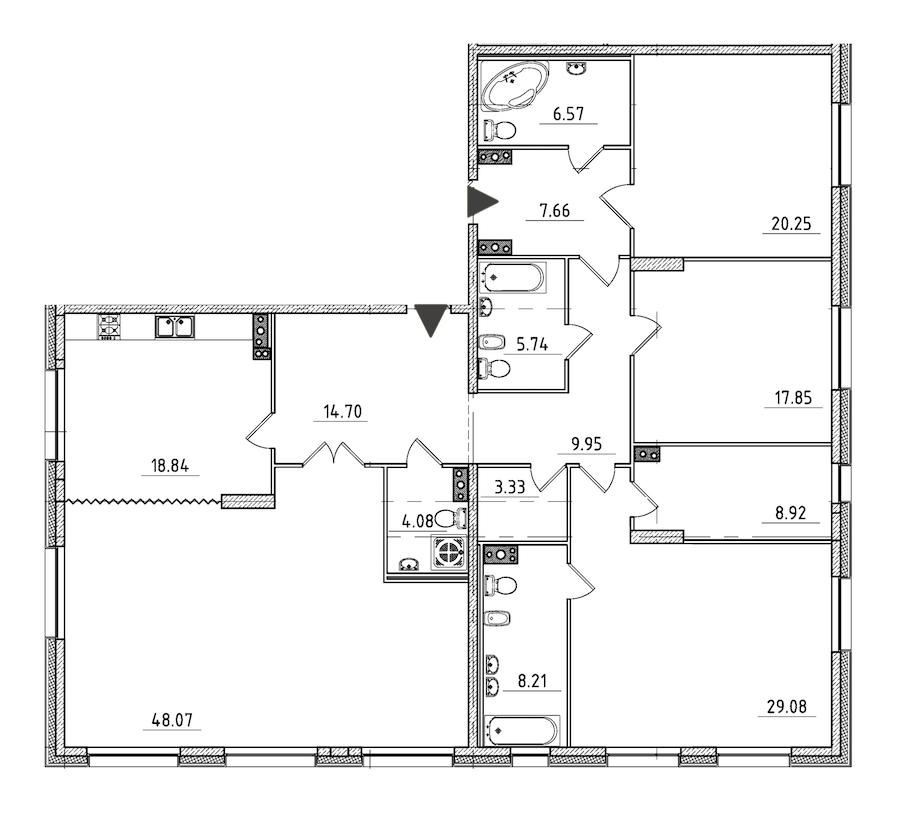 4-комнатная 203 м<sup>2</sup> на 3 этаже