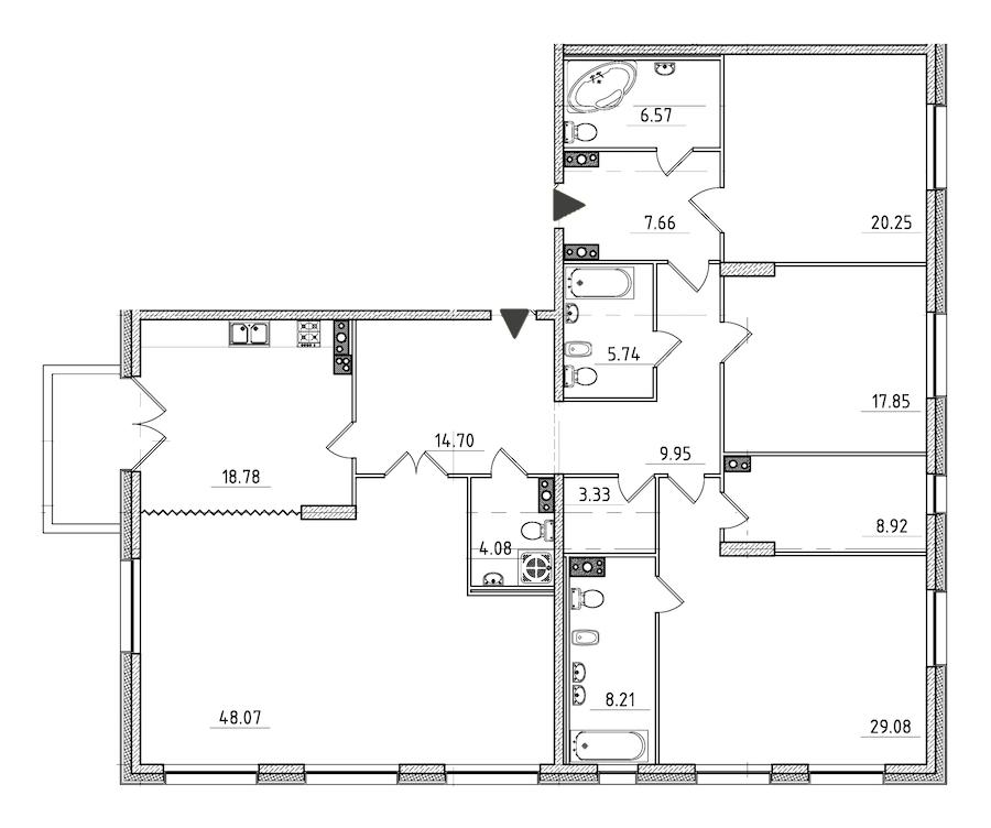 4-комнатная 204 м<sup>2</sup> на 4 этаже
