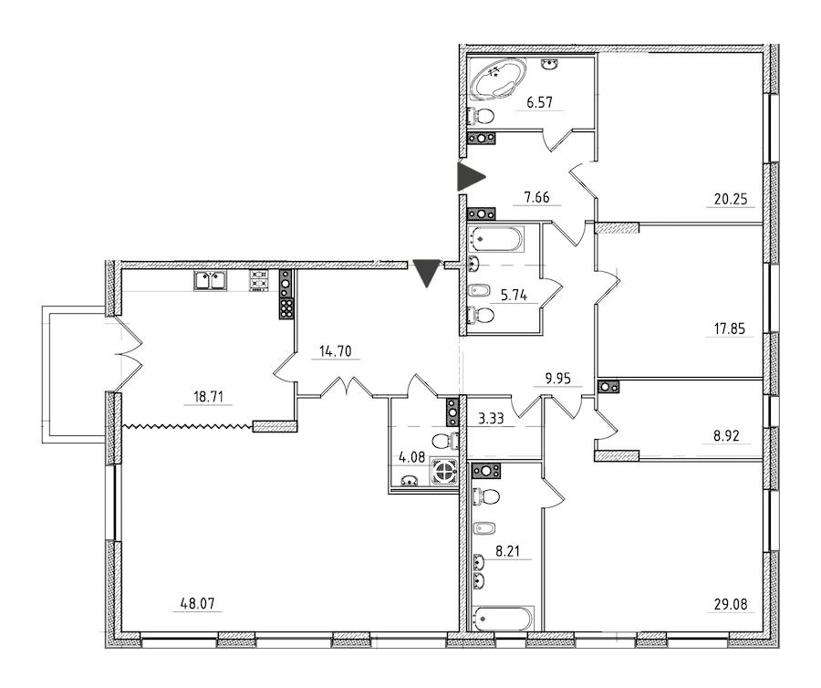4-комнатная 204 м<sup>2</sup> на 7 этаже