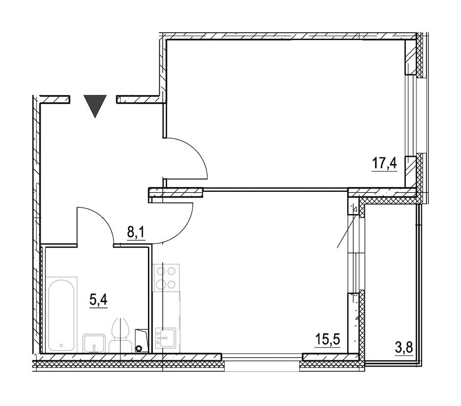 1-комнатная 48 м<sup>2</sup> на 1 этаже
