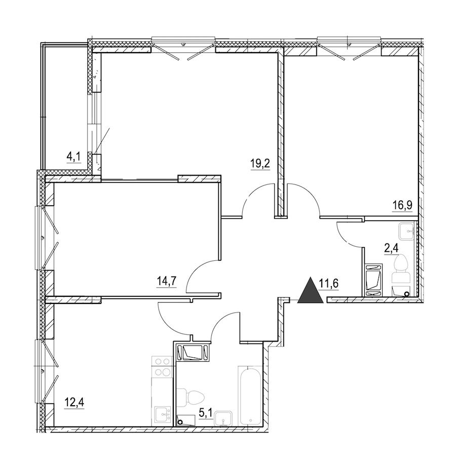 3-комнатная 84 м<sup>2</sup> на 3 этаже
