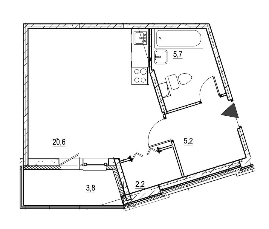 Студия 35 м<sup>2</sup> на 1 этаже