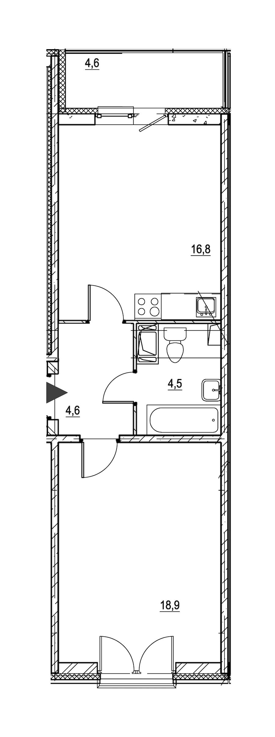 1-комнатная 47 м<sup>2</sup> на 2 этаже