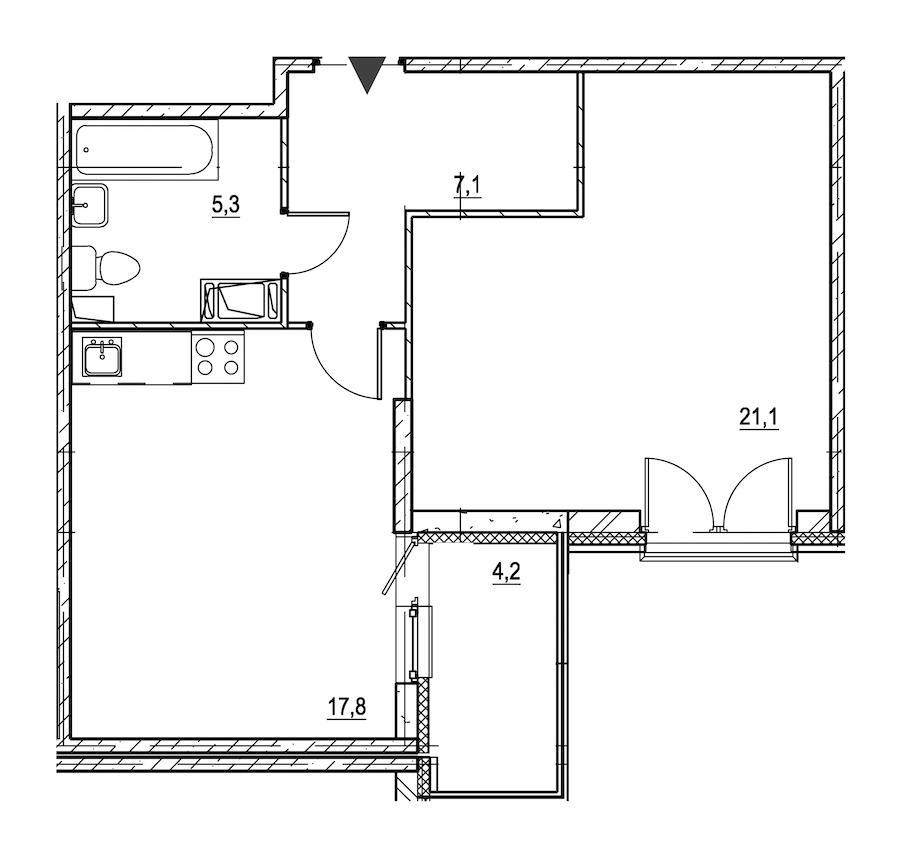 1-комнатная 53 м<sup>2</sup> на 2 этаже