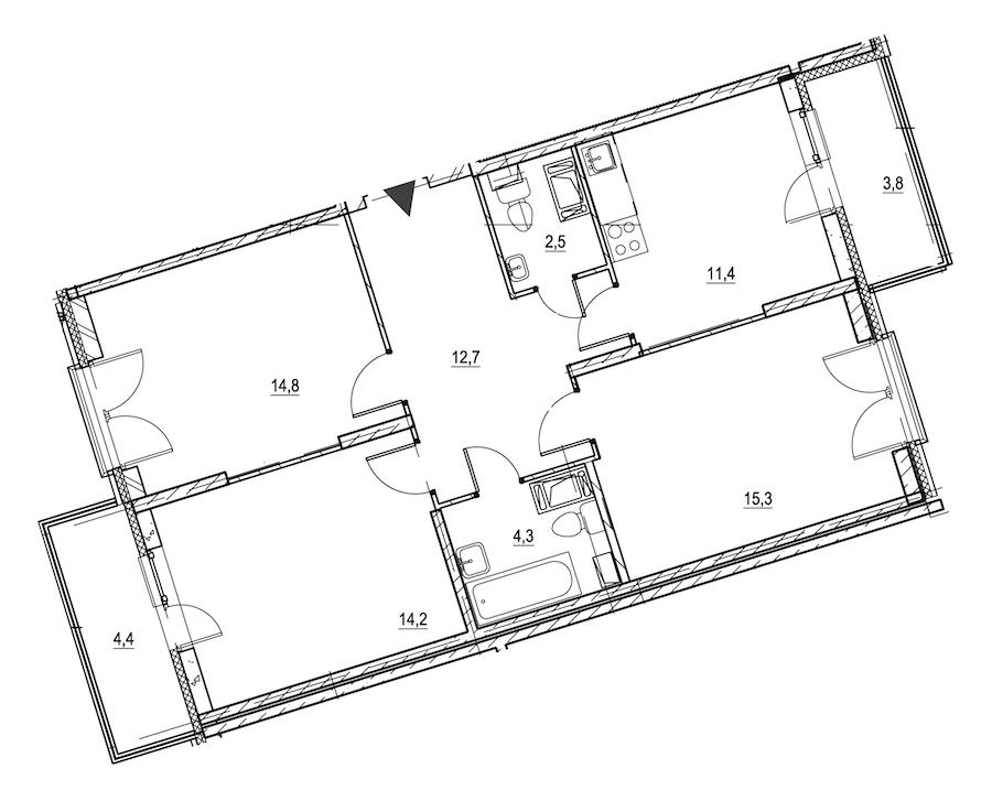 3-комнатная 78 м<sup>2</sup> на 3 этаже