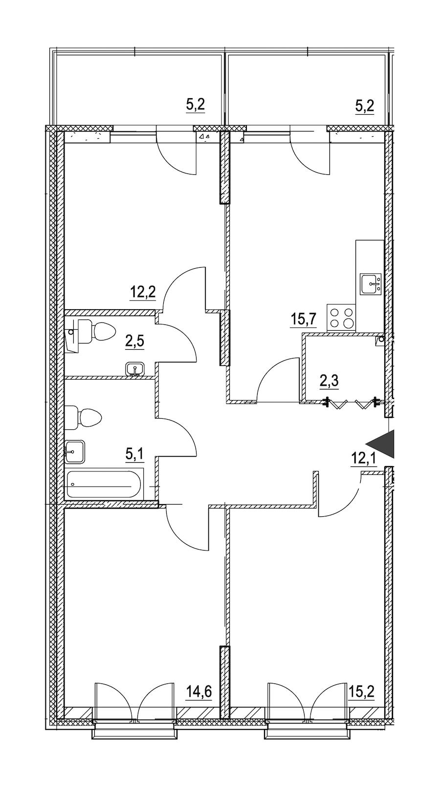 3-комнатная 82 м<sup>2</sup> на 2 этаже