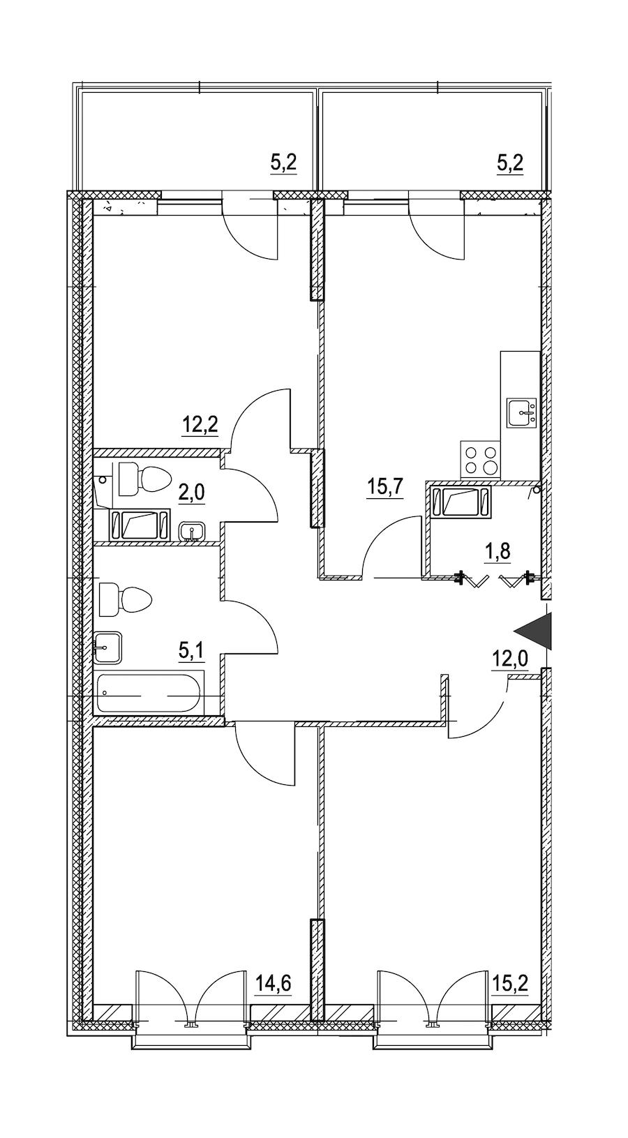 3-комнатная 81 м<sup>2</sup> на 3 этаже
