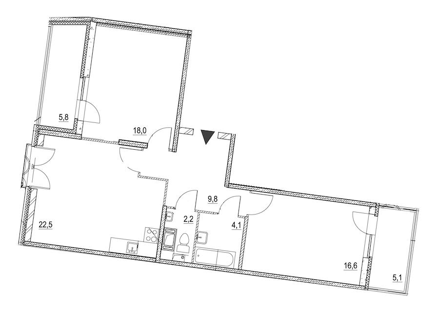 2-комнатная 77 м<sup>2</sup> на 3 этаже