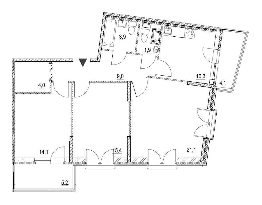 3-комнатная 82 м<sup>2</sup> на 3 этаже