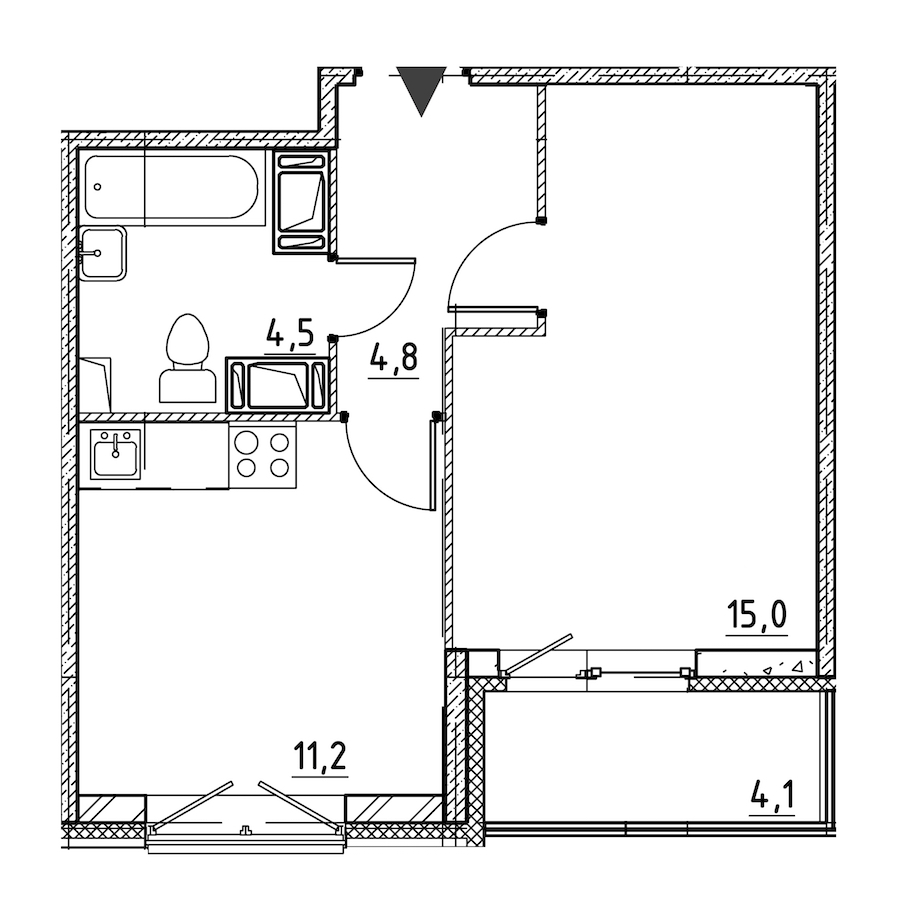 1-комнатная 37 м<sup>2</sup> на 2 этаже