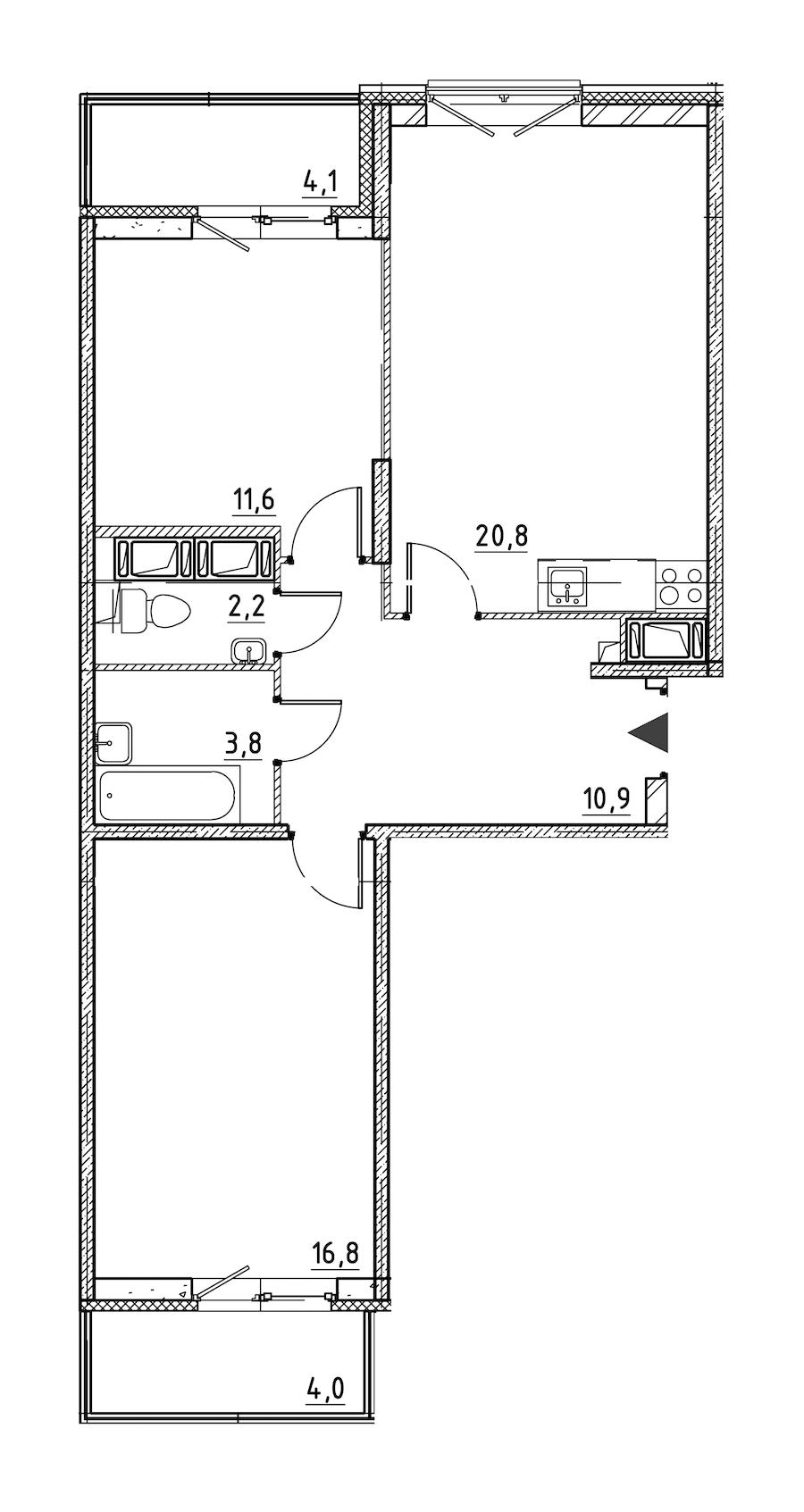2-комнатная 69 м<sup>2</sup> на 2 этаже