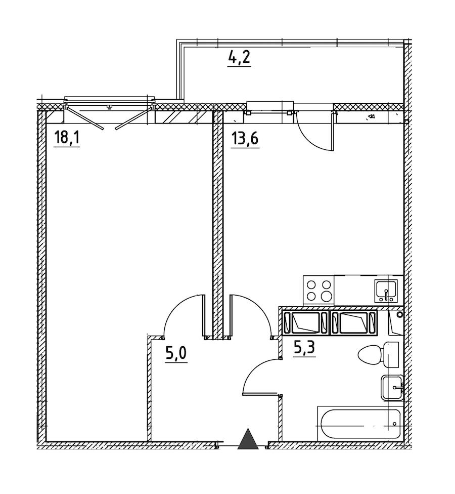 1-комнатная 44 м<sup>2</sup> на 2 �