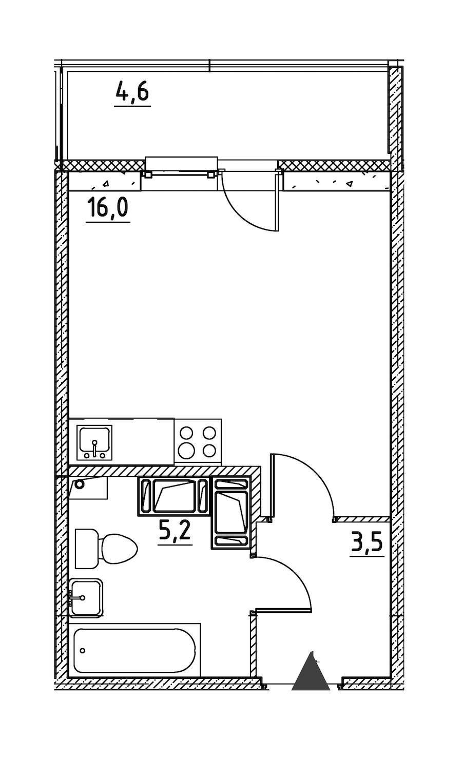 Студия 27 м<sup>2</sup> на 12 этаже