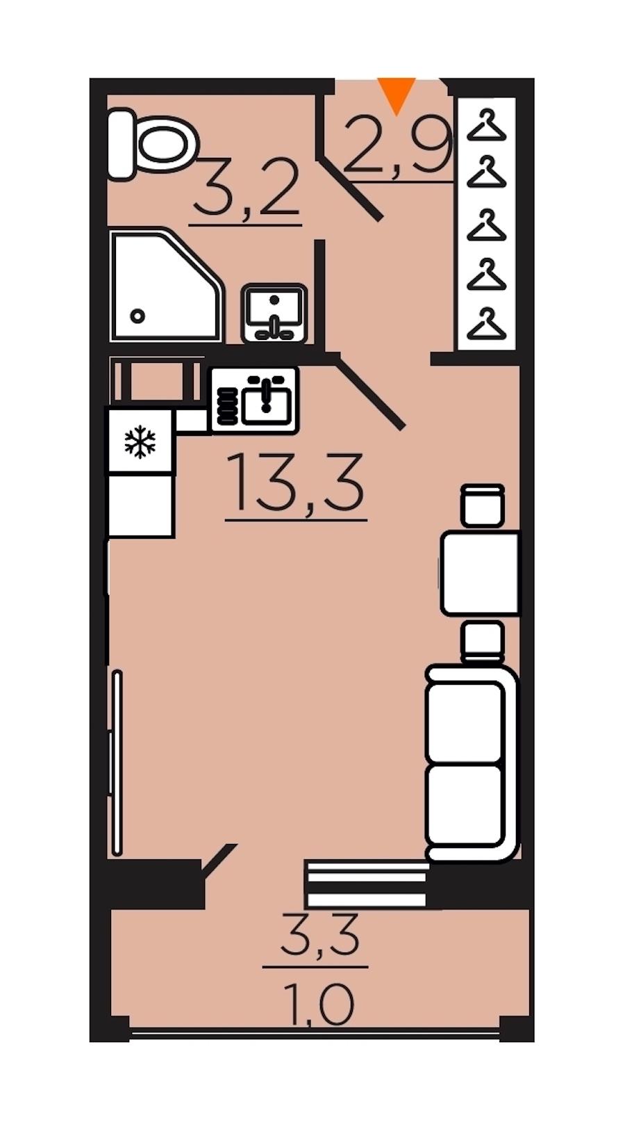 Студия 19 м<sup>2</sup> на 9 этаже