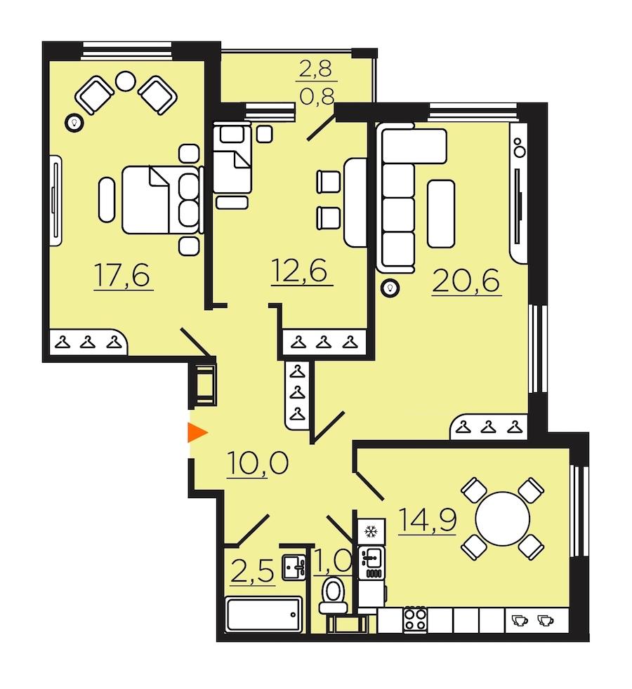 3-комнатная 81 м<sup>2</sup> на 9 этаже