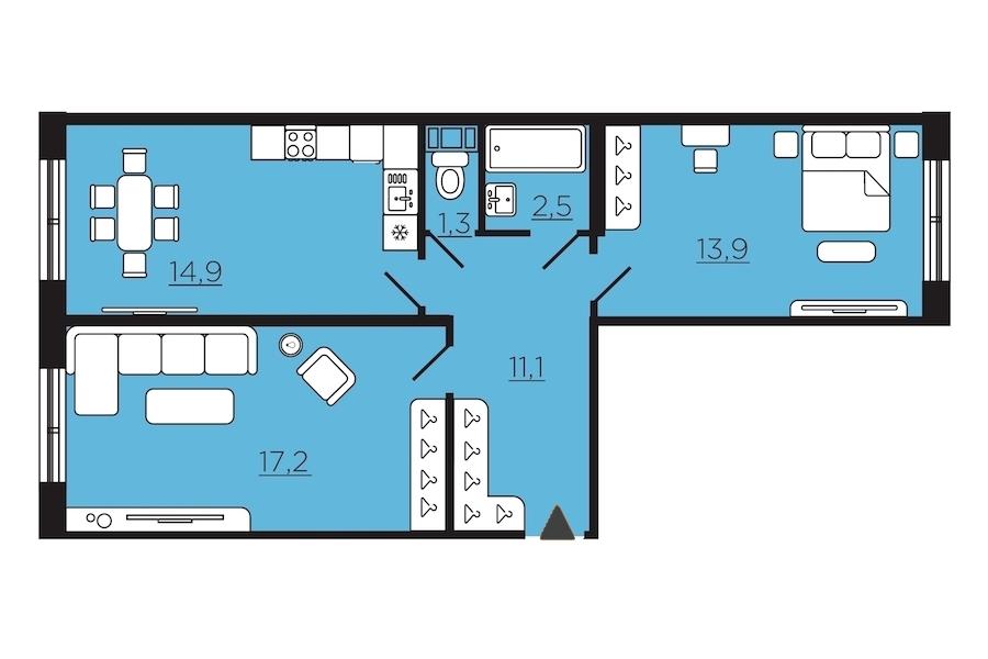 2-комнатная 58 м<sup>2</sup> на 1 этаже