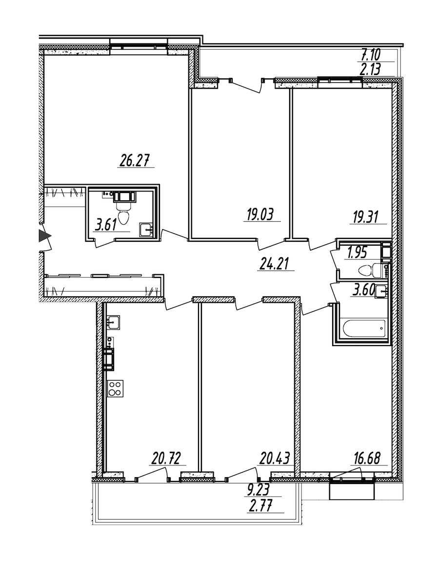 5-комнатная 160 м<sup>2</sup> на 10 этаже
