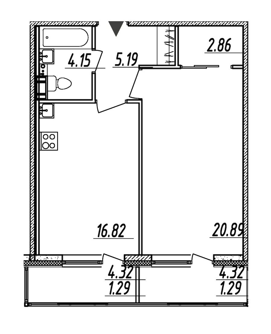 1-комнатная 52 м<sup>2</sup> на 8 этаже