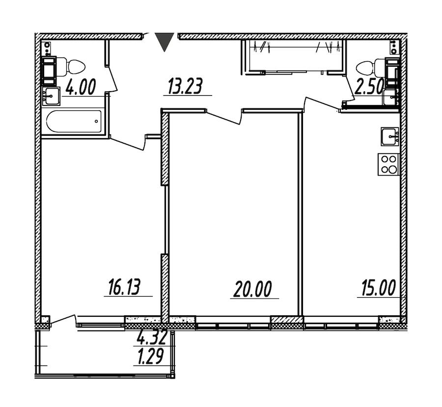 2-комнатная 72 м<sup>2</sup> на 8 этаже