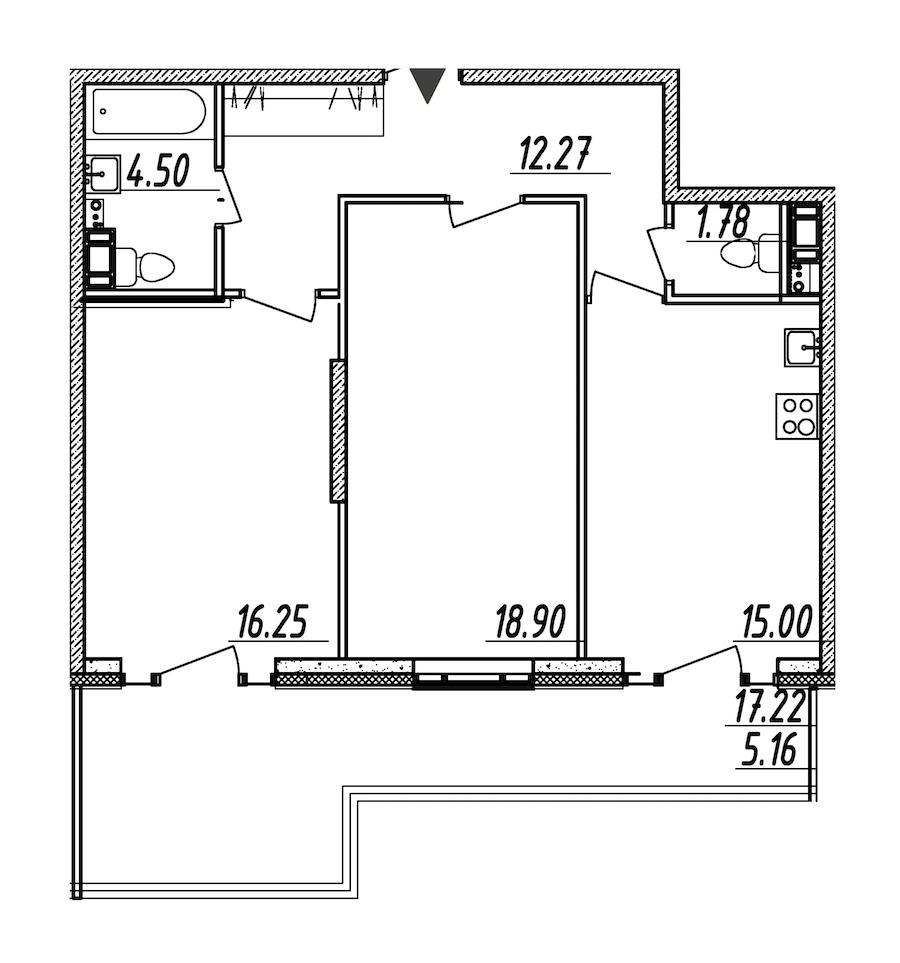 2-комнатная 73 м<sup>2</sup> на 9 этаже
