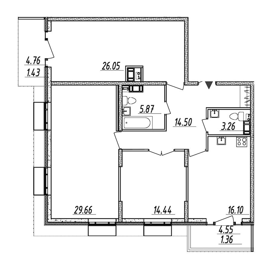 3-комнатная 112 м<sup>2</sup> на 10 этаже