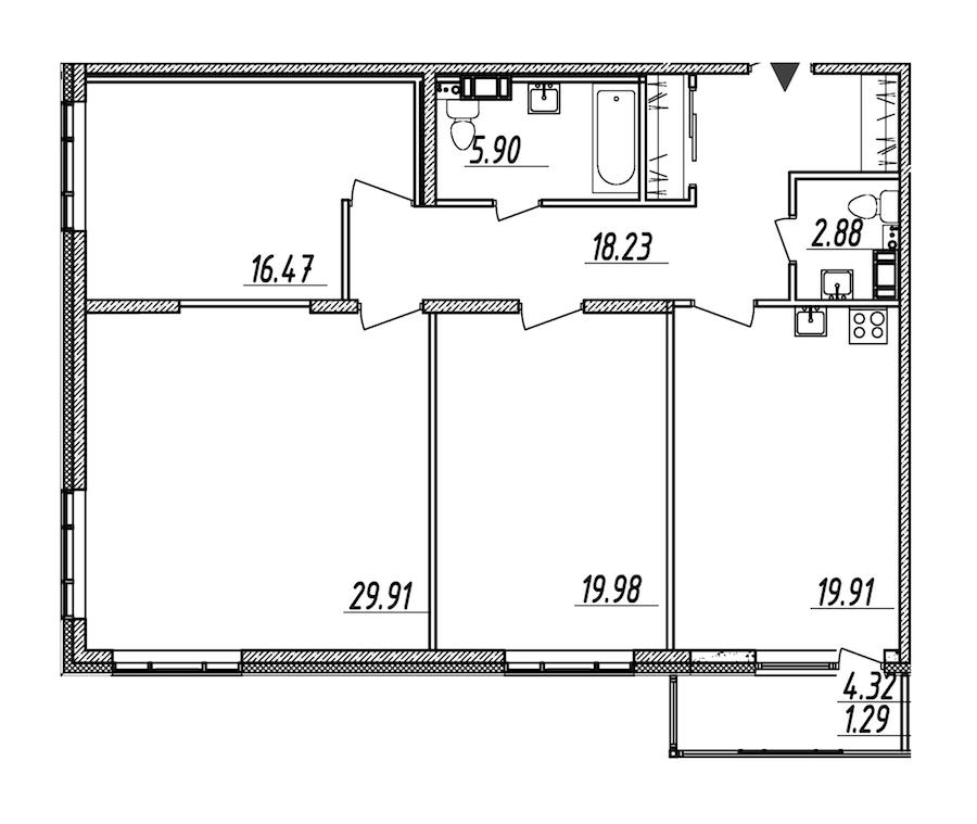 3-комнатная 114 м<sup>2</sup> на 4 этаже