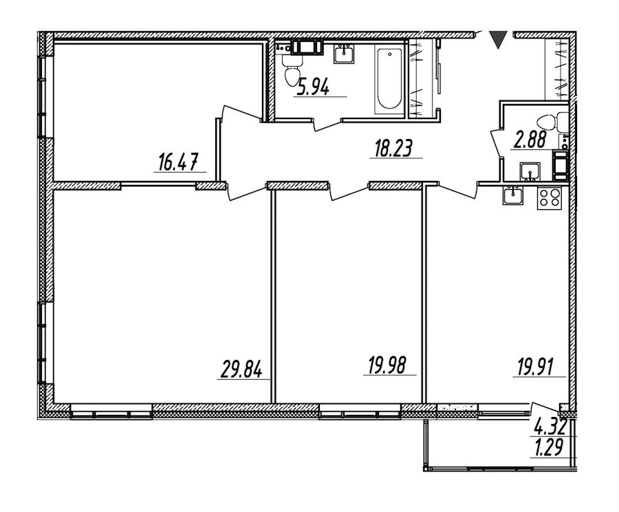 3-комнатная 114 м<sup>2</sup> на 6 этаже