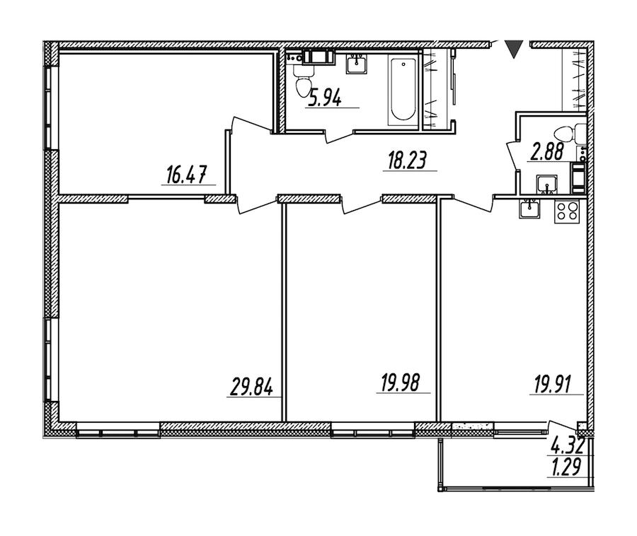 3-комнатная 114 м<sup>2</sup> на 7 этаже