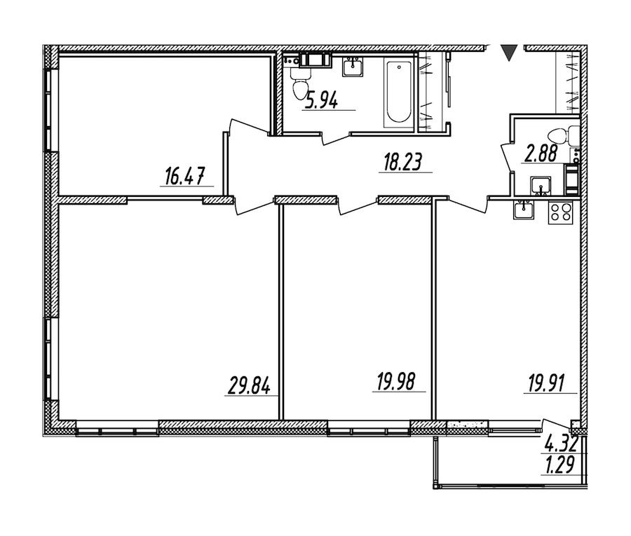 3-комнатная 114 м<sup>2</sup> на 8 этаже