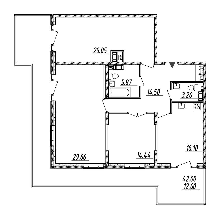 3-комнатная 122 м<sup>2</sup> на 9 этаже