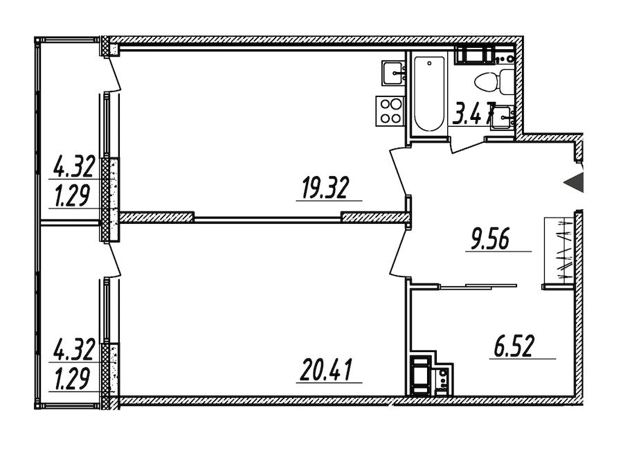 1-комнатная 61 м<sup>2</sup> на 7 этаже