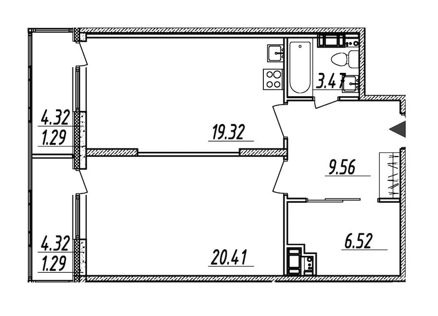 1-комнатная 61 м<sup>2</sup> на 8 этаже