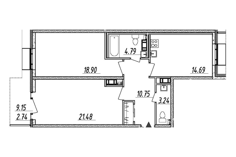 2-комнатная 76 м<sup>2</sup> на 10 этаже
